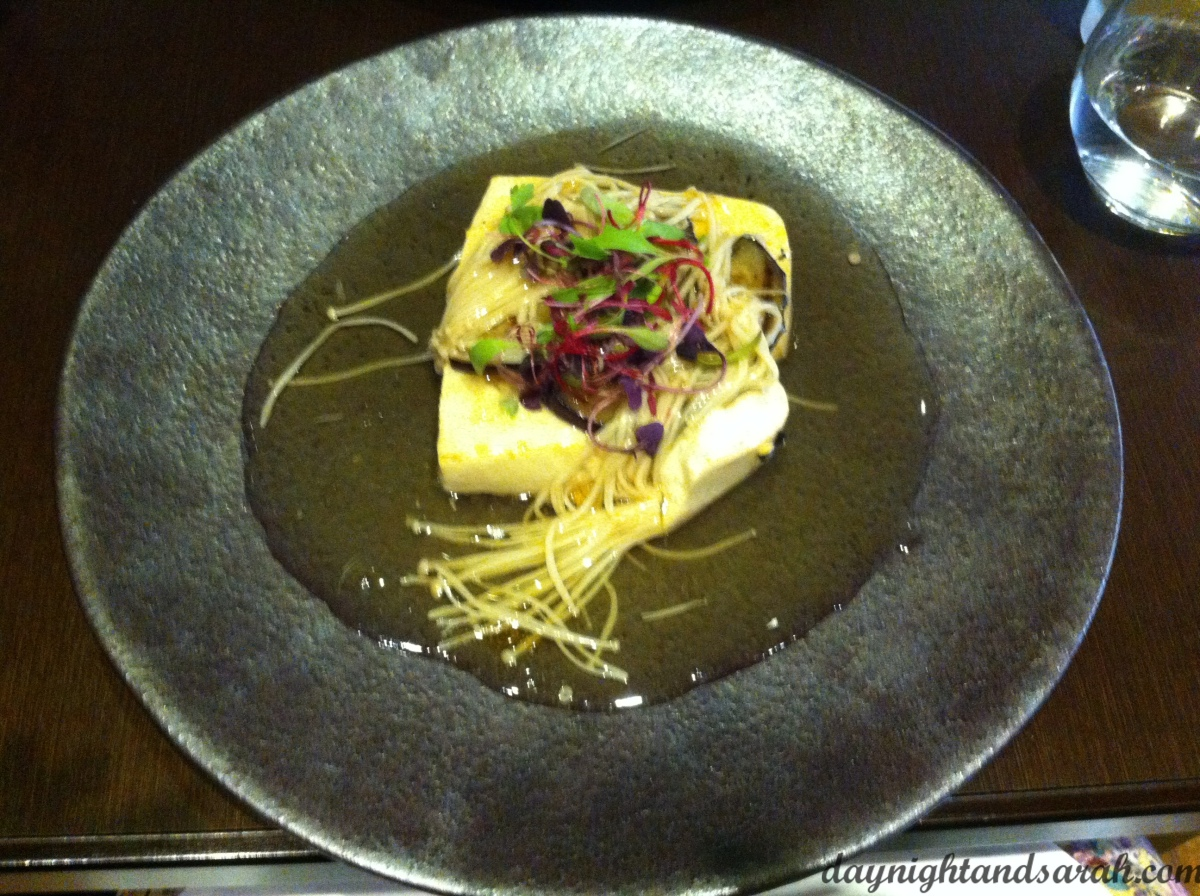The tofu steak, with eggplant and enoki mushrooms.